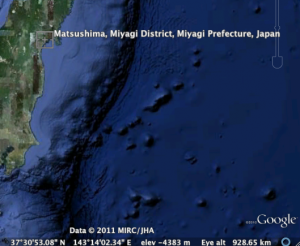 GoogleEarth bathymetry farther off the coast of Matsushima, Japan