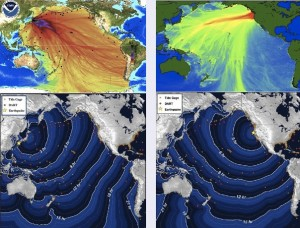 Tsunamis from 2011 Japan (left) and 1700 Cascadia (right).